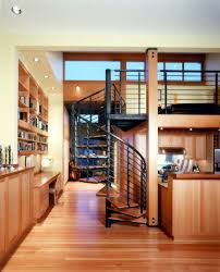 space saving kitchen design dining room space saving spiral staircase with metal railing and