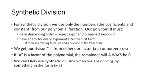 Dividing Polynomials Worksheet Polynomial Synthetic Division Ppt Download