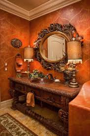 Tuscan Bathroom Design With Wallpaper And Round Ornate Mirror - Tuscan bathroom design