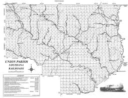 Louisiana Parishes Map by Usgenweb Archives Union Parish Louisiana Railroad Map