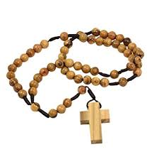 authentic olive wood catholic rosary necklace