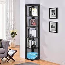 Wall Corner Shelves by Amazon Com Yaheetech 5 Tier Espresso Finish Wood Wall Corner