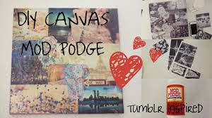 easy mod podge canvas diy project inspired youtube