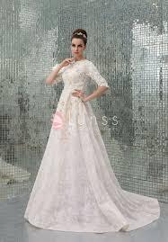 wedding evening dress luxury ivory lace embroidered half sleeve high neck