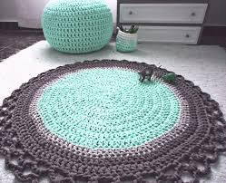 Round Pink Rug For Nursery Mint U0026 Grey Crochet Round Rug Babyrooms Round Rug Nursery