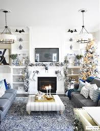 blue and white home decor christmas home tour living room with blue white and gold