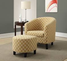 Fabric Accent Chair Monarch Vintage Two Tone Fabric Accent Chair With Round Ottoman