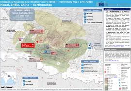 map of nepal and india nepal india china earthquakes echo daily map 27 4 2015