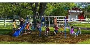 Kids Backyard Play Set by Metal Swing Set Flexible Flyer Kids Swings Playground Seesaw