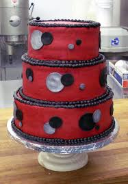 red with black and silver dots wedding cake a piece of cake utah