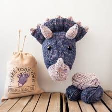 Dinosaur Head Wall Mount Faux Purple Triceratops Knitting Kit Make Your Own