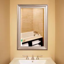 bathroom mirrors brushed nickel framed bathroom mirror decorate