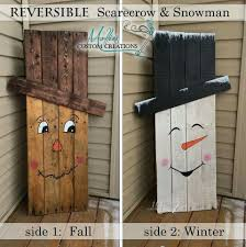 scarecrow one side snowman reverse side fall and winter 2 in 1
