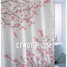 Pink And Grey Curtains White And Chic Pink Plum Blossom Unique Shower Curtains