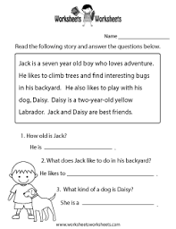reading comprehension worksheets free printable worksheets for