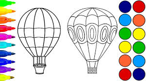 air balloon coloring book learn colors coloring pages