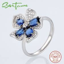 sted rings silver rings for woman blue flower ring aaa cubic zirconia rings