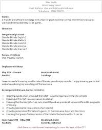 resume concierge resume template good luck example concierge resume