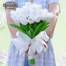 silk bridal bouquet kyunovia artificial flower mini tulips centerpieces real touch
