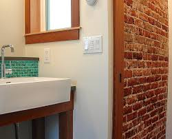 brick wall bathroom home design ideas