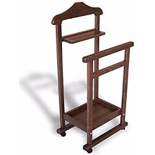 Bedroom Clothes Horse Nut Brown Wooden Valet Stand Clothes Hanger Or Clothes Horse For
