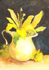 Yellow Lilies Yellow Lilies And A Pitcher Watercolor Barbara Haviland Blog