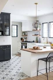 Gray Tile Kitchen Floor by Emily Henderson Blue Grey Kitchen With Concrete Tiles In Bold