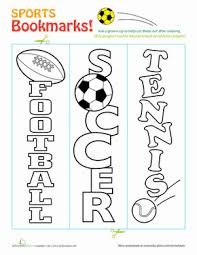 sports bookmarks worksheet education com