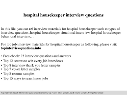 Housekeeping Resume Examples by Hospital Housekeeper Interview Questions