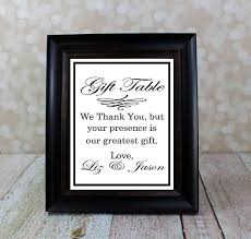 wedding gift table sign wedding gift sign reception table sign thank you sign from the