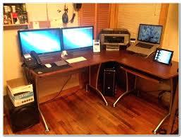 2 Monitor Computer Desk Computer Desks For Small Spaces Uk Best Computer Desk For 3