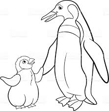 coloring pages mother penguin with her cute baby stock vector art