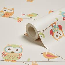 B Q Bedroom Wallpaper Fun4walls Owl Wallpaper Departments Diy At B U0026q