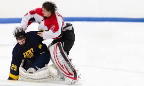 goalie fight at the davenport university game tonight hockey