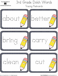 words cards third grade dolch sight words tracing flashcards a to z