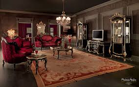 Classic Livingroom Venetian Sitting Room With Luxury Carved Sofas And Embroidered