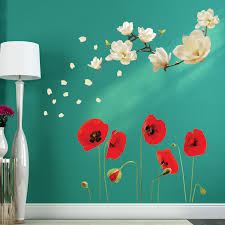 wall stickers uk wall art stickers kitchen wall stickers fl361006 white magnolia ws5018 red poppy flowers