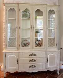 Vintage French Country China Cabinet White Grey Annie Sloan Antique