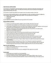treasurer description 9 free pdf word documents