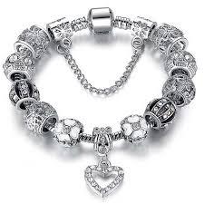 silver crystal heart bracelet images Buy swarovski elements crystal heart charm bracelet by yeidid jpg