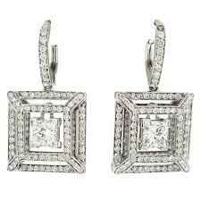 14k gold large diamond amethyst earrings designer dangle diamond elegant earrings 3ct 14k gold