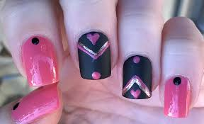matte black u0026 pink nail art design for valentine u0027s day youtube