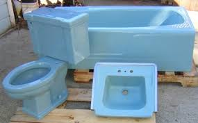 Blue Bathroom Fixtures Mid Century Blue Bathroom Sink Toilet And Tub Real American