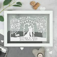 wedding gofts personalised silhouette wedding papercut by the portland co