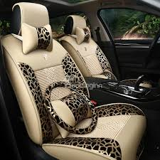housse siege de voiture personnalisé luxurious leopard print silk and rayon car seat covers
