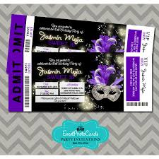 sweet 15th masquerade purple u0026 black invitations ticket