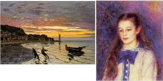 monet left uses dark shapes almost silhouettes to make things stand out against the lighter water and sky values renoir right makes the girl s face