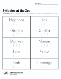 syllables worksheets for kindergarten worksheets
