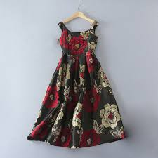 red flower sequined printing 2017 early autumn designer dress