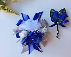 Royal Blue Boutonniere 19 Prom Wrist Flower Royal Blue And Gray Wrist Corsage With